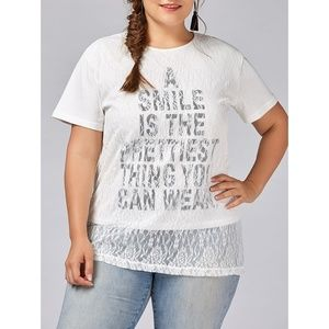 "✨ Plus Size ""Smile"" Print Lace Overlay T-Shirt ✨"